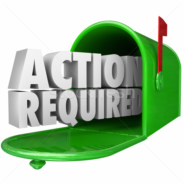 Action Required Message Mailbox Urgent Notice Legal Document Stock photo © iqoncept