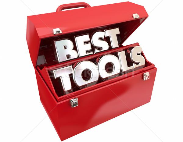 Mejor herramientas caja de herramientas potente calidad palabras Foto stock © iqoncept