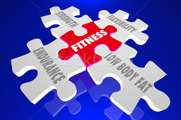 Fitness Elements Principles Words Puzzle Pieces 3d Illustration Stock photo © iqoncept