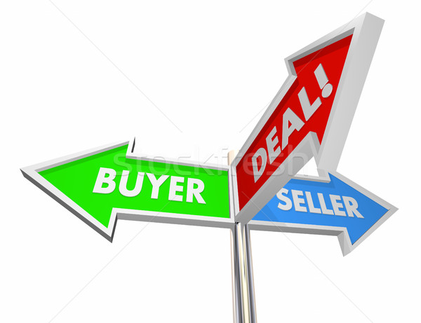 Buyer Seller Negotiate Deal Sold Customer Signs 3d Illustration Stock photo © iqoncept