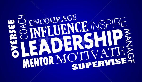 Irányítás inspirál edző motivál szó kollázs Stock fotó © iqoncept