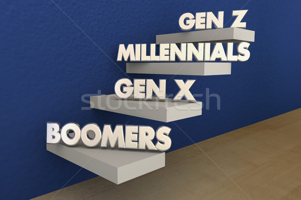 Baby Boomers Millennials Generation X Y Z 3d Illustration Stock photo © iqoncept