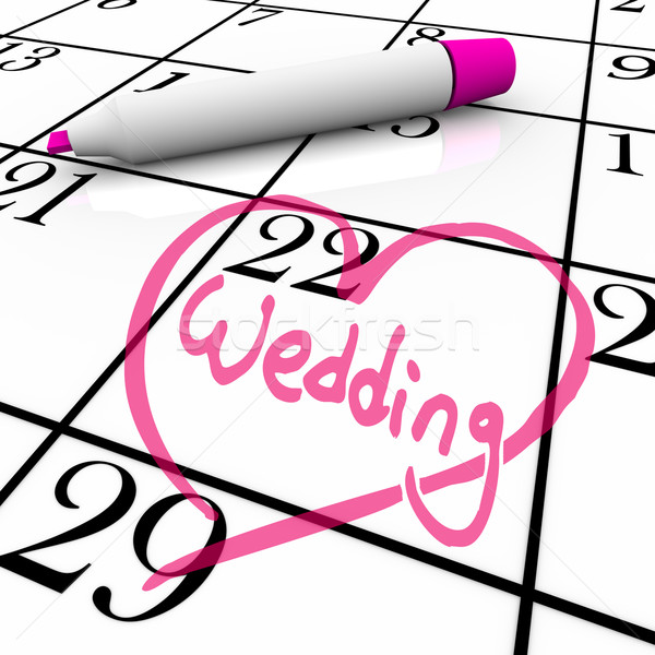 Wedding - Marriage Day Circled with Heart Stock photo © iqoncept