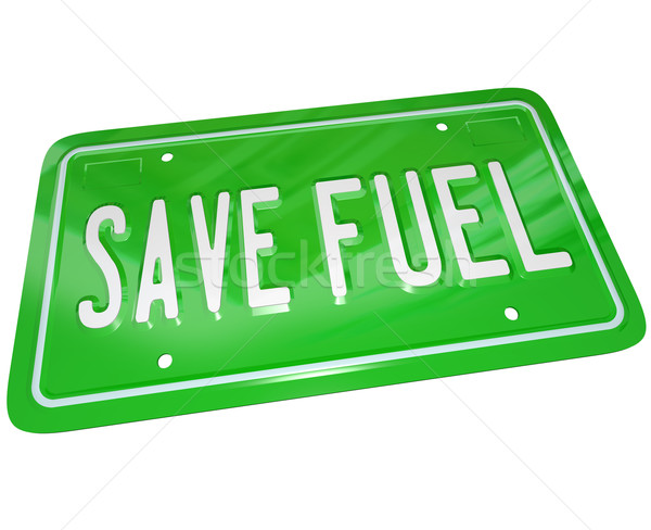 Save Fuel Green License Plate Earth Friendly Power Stock photo © iqoncept