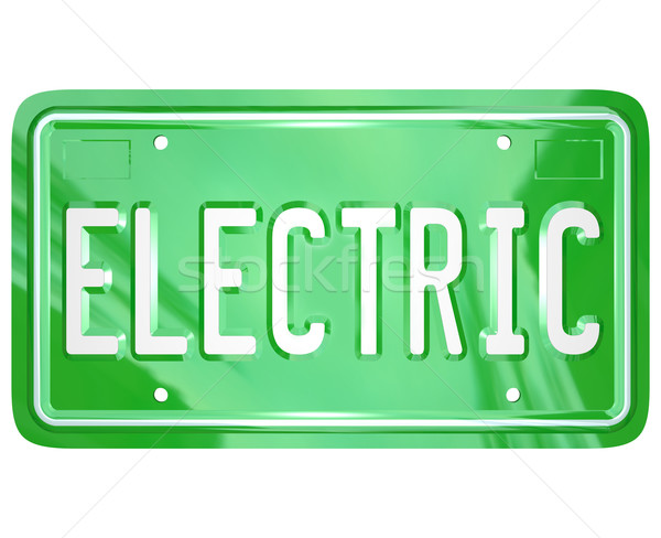 Electric Word Car Vanity License Plate Green Automobile Stock photo © iqoncept