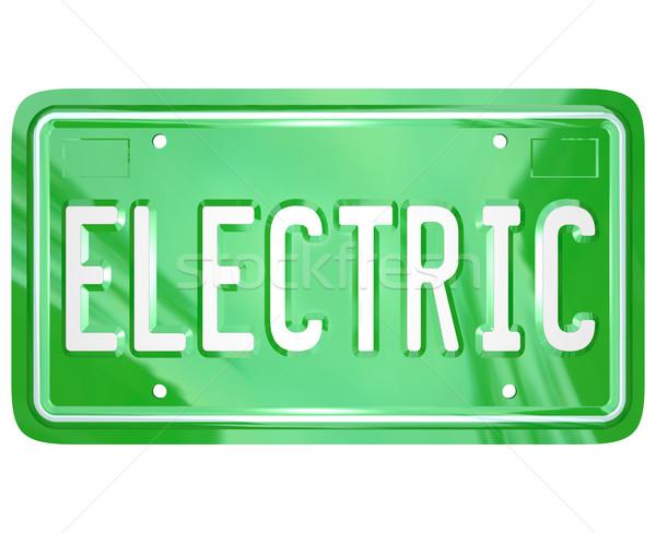 электрических слово автомобилей тщеславие номерной знак зеленый Сток-фото © iqoncept