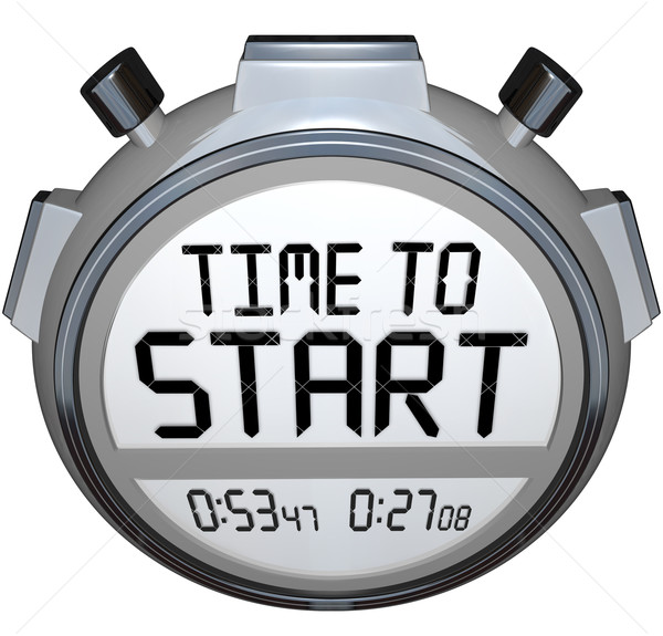 Time to Start Words Stopwatch Timer Clock Stock photo © iqoncept