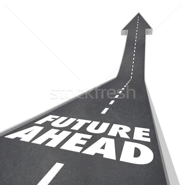Foto stock: Futuro · à · frente · estrada · palavras · seta · para · cima