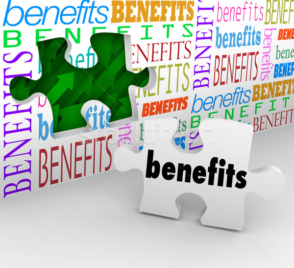 Benefits Hole in Wall Puzzle Piece Complete Unique Selling Poin Stock photo © iqoncept