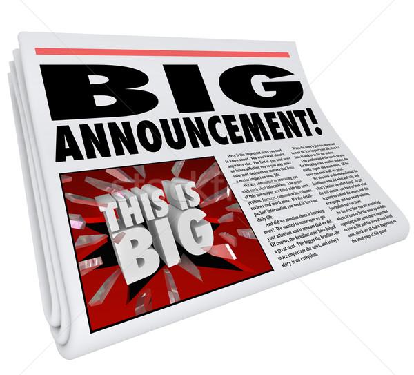 Newspaper Headline Big Announcement Huge News Stock photo © iqoncept
