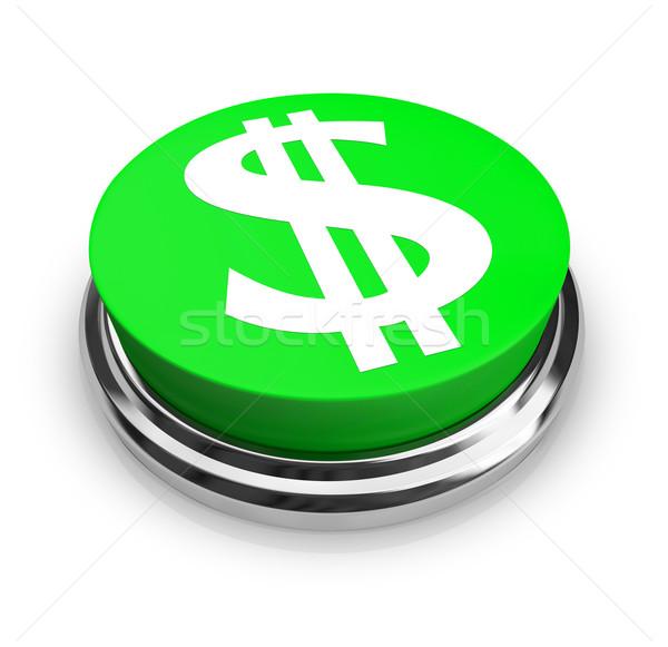доллара символ кнопки зеленый бизнеса деньги Сток-фото © iqoncept