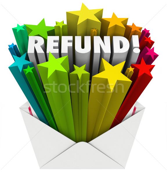 Refund Word Envelope Money Tax Return Mail  Stock photo © iqoncept