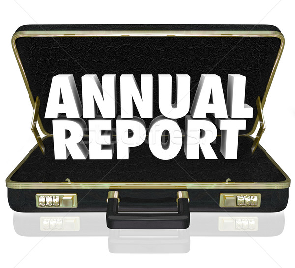 Annual Report Briefcase Words Financial Statement Filing Stock photo © iqoncept