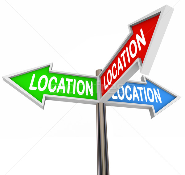 Location Thre Arrow Signs Priority Area Neighborhood Property Stock photo © iqoncept