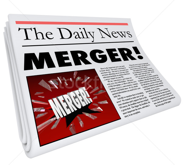 Merger Newspaper Headline Big Breaking News Story Update Company Stock photo © iqoncept