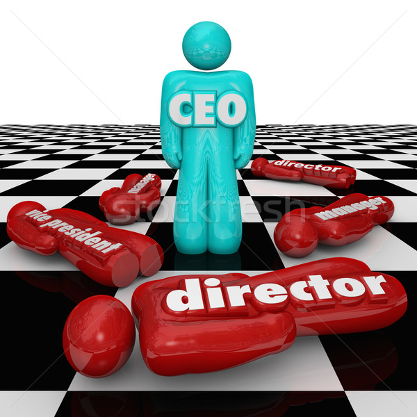 CEO Leader Chief Executive Officer Standing Chess Board Power St Stock photo © iqoncept