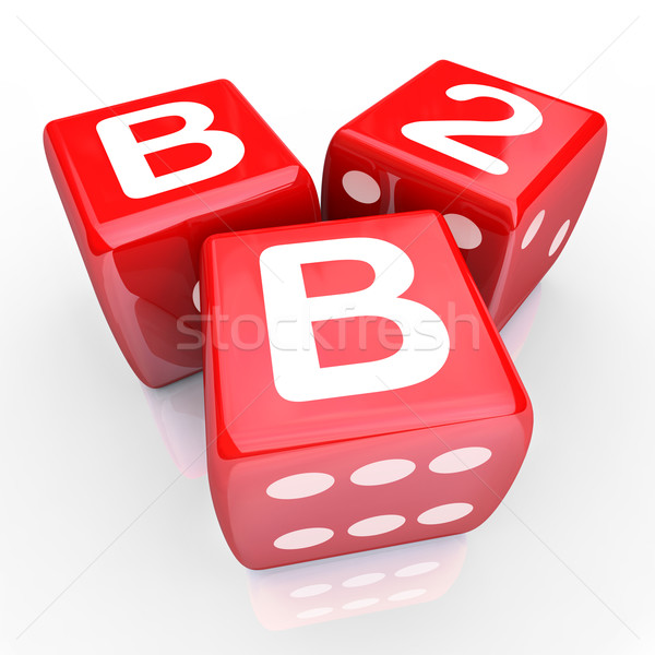 B2B Letters Three Red Dice Gamble Betting Business Sales Win Sal Stock photo © iqoncept