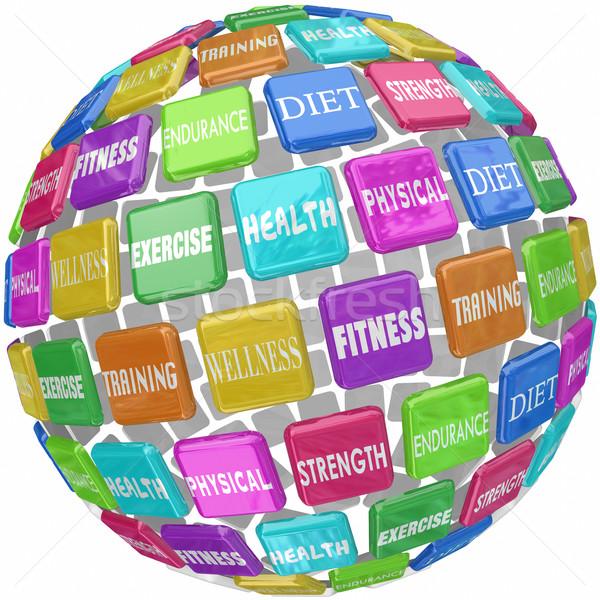 Fitness wykonywania zdrowia słowa świecie piłka Zdjęcia stock © iqoncept