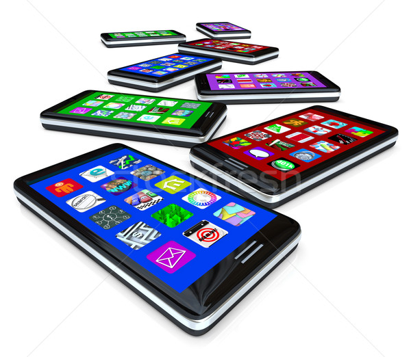 Stock photo: Many Smart Phones with Apps on Touch Screens