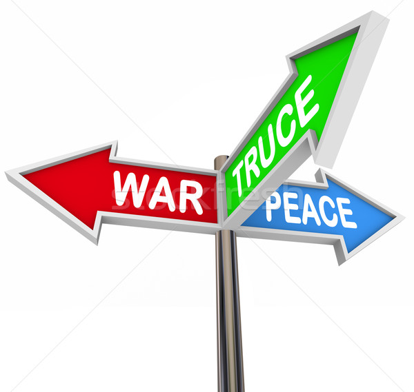 Violence Peace Truce Three Way Arrow Signs Negotiate Cease Fire Stock photo © iqoncept