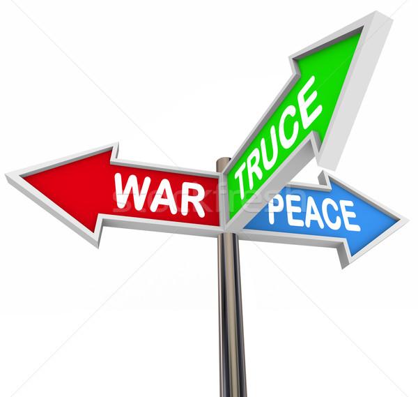 Violenza pace tre modo arrow segni Foto d'archivio © iqoncept