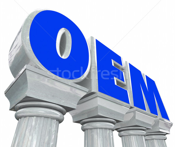 Stock photo: OEM Letters Stone Columns Original Equipment Manufacturer Parts