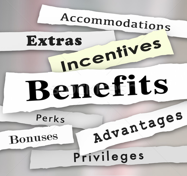 Benefits Incentives Bonuses Extras Perks Newspaper Headlines Stock photo © iqoncept