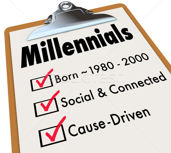 Millennials Checklist Clipboard Age Social Connected Cause Drive Stock photo © iqoncept