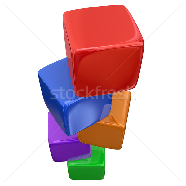Stacked Color Cubes Boxes Blocks Counting Basic Fundamentals Stock photo © iqoncept