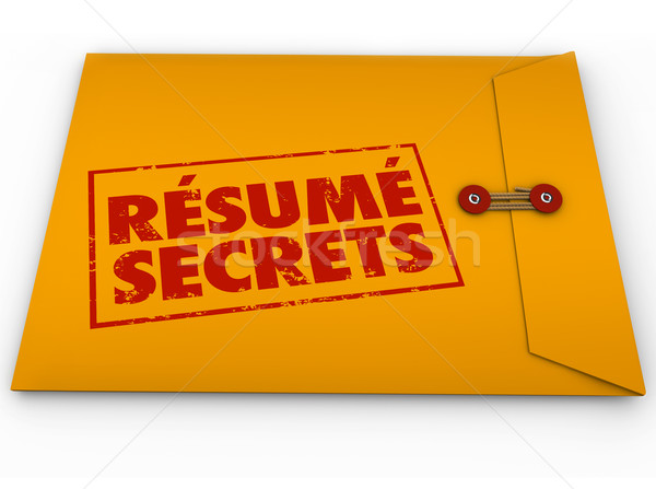 Resume Secrets Yellow Envelope Help Guidance Tips Advice Job Int Stock photo © iqoncept