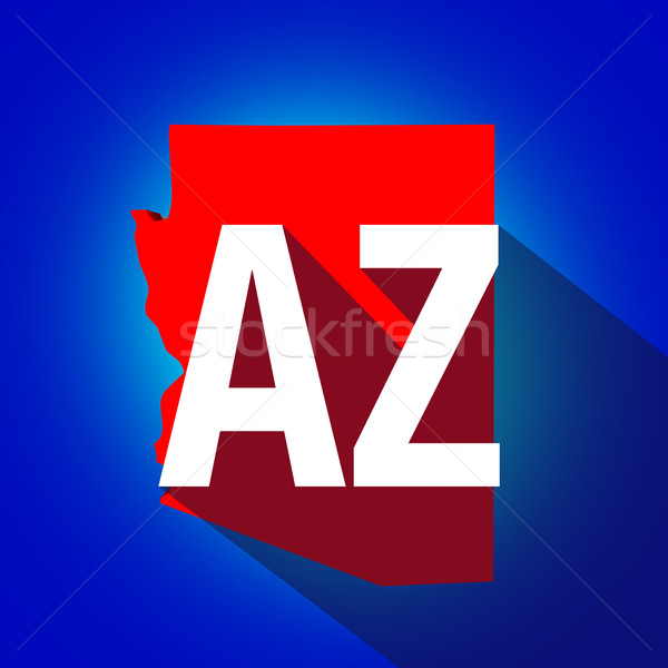 Arizona AZ Letters Abbreviation Red 3d State Map Long Shadow Cir Stock photo © iqoncept