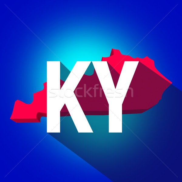 Kentucky KY Letters Abbreviation Red 3d State Map Long Shadow Stock photo © iqoncept