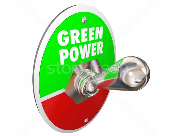 Groene macht hernieuwbare energie woorden lichtschakelaar 3d illustration Stockfoto © iqoncept
