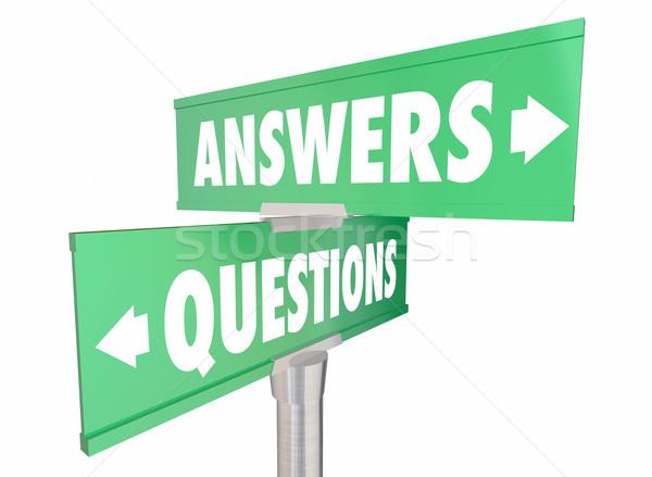 Kérdések válaszok szavak feliratok 3d illusztráció utca Stock fotó © iqoncept