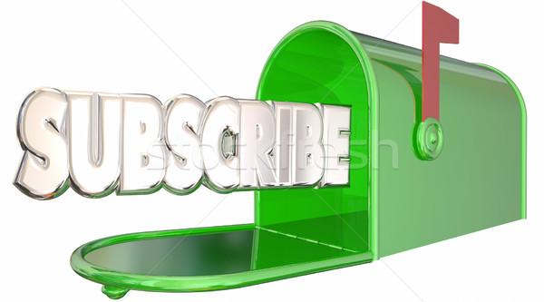 Mot boîte aux lettres signe up bulletin info Photo stock © iqoncept