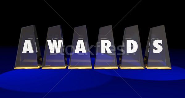 Awards Trophies Prizes Competition Top Honors 3d Illustration Stock photo © iqoncept