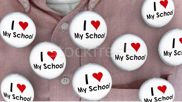 I Love My School Buttons Pins Shirt Education Teacher Student 3d Stock photo © iqoncept