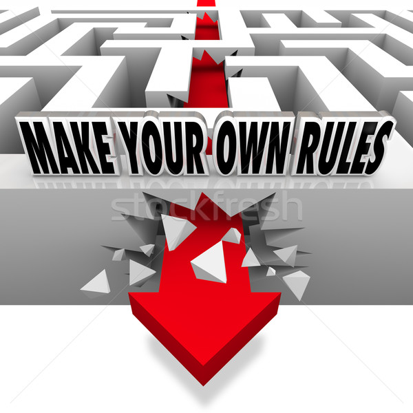 Make Your Own Rules Arrow Breaks Free of Maze Stock photo © iqoncept