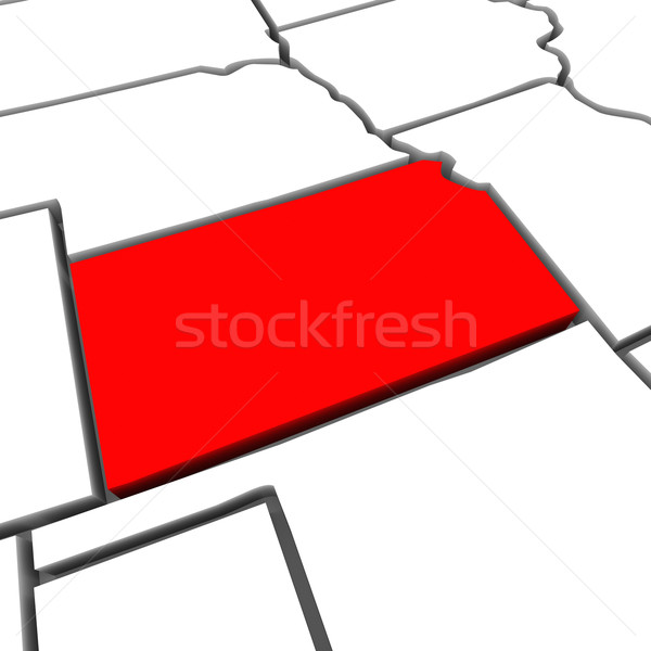 Kansas Red Abstract 3D State Map United States America Stock photo © iqoncept