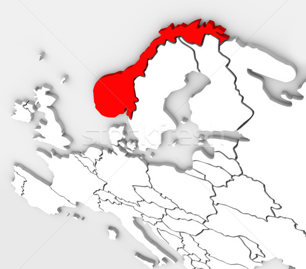 Norway Abstract 3D Map Europe Country Continent Stock photo © iqoncept