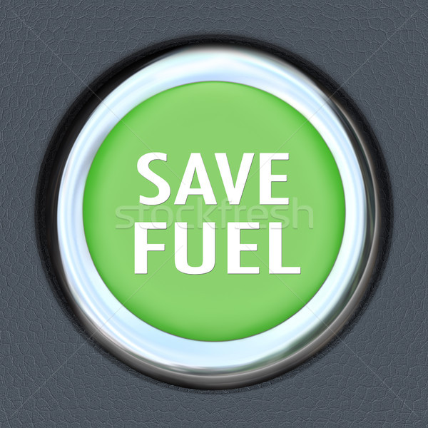 Save Fuel Green Car Start Button Saving Gasoline Stock photo © iqoncept
