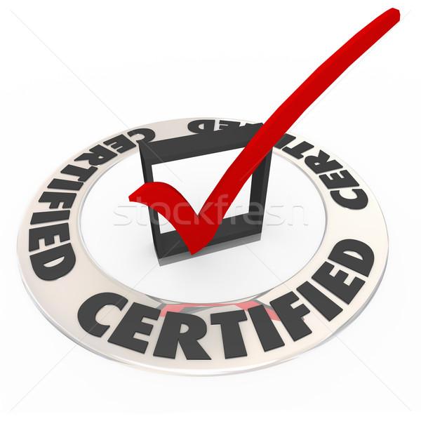 Certificado anillo palabra comprobar cuadro Foto stock © iqoncept