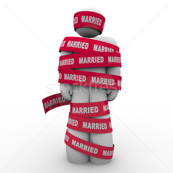 Married Man Wrapped Red Tape Prisoner Trapped Person Stock photo © iqoncept