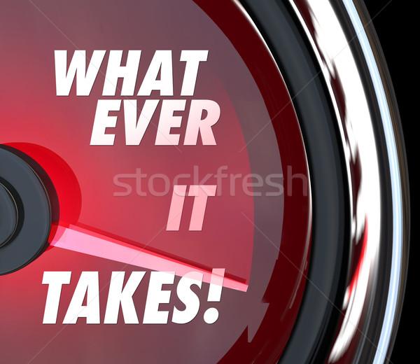 Indicateur de vitesse rapide succès objectif mots rouge Photo stock © iqoncept