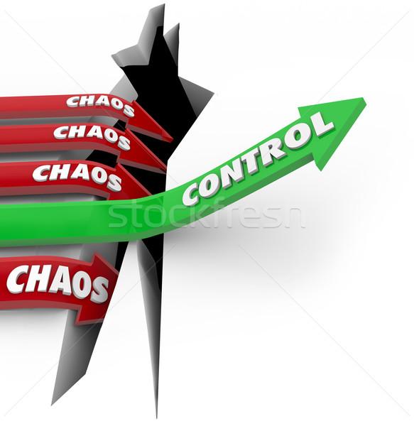 Kontrolle vs Chaos um Störung Worte Stock foto © iqoncept