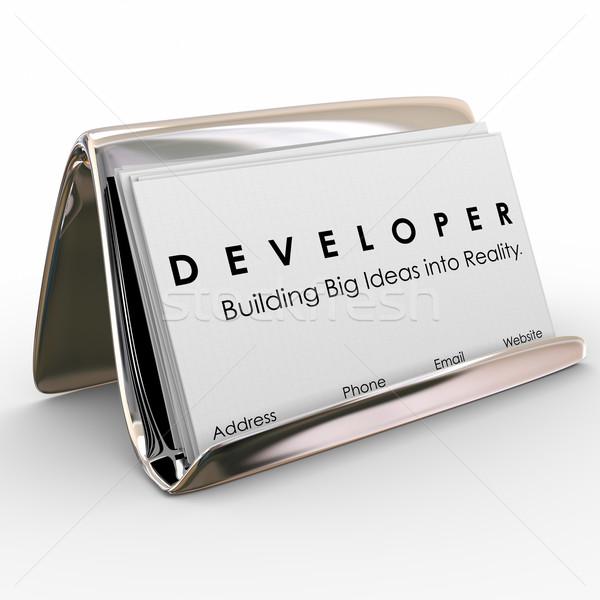 Promoteur constructeur logiciels demande Photo stock © iqoncept