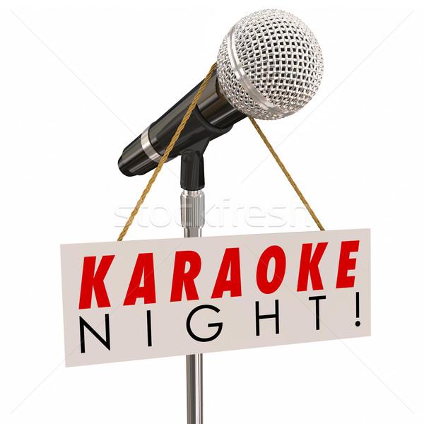 Stok fotoğraf: Karaoke · gece · mikrofon · imzalamak · reklam · eğlence