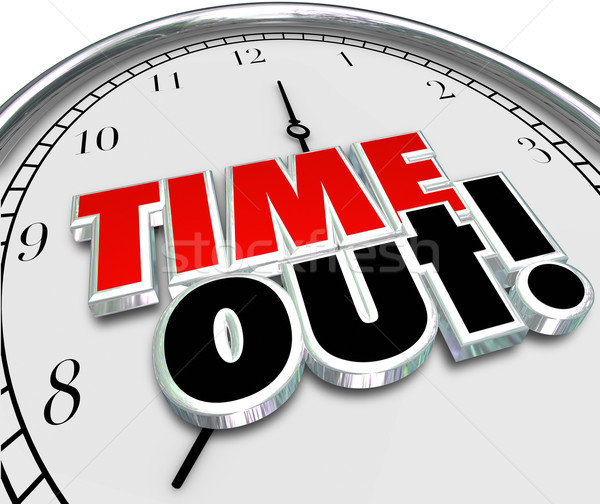 Time Out Words Clock Break Pause Stop Action Stock photo © iqoncept