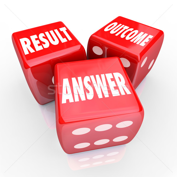 Result Outcome Answer Three Red Dice Decision Judgement Stock photo © iqoncept