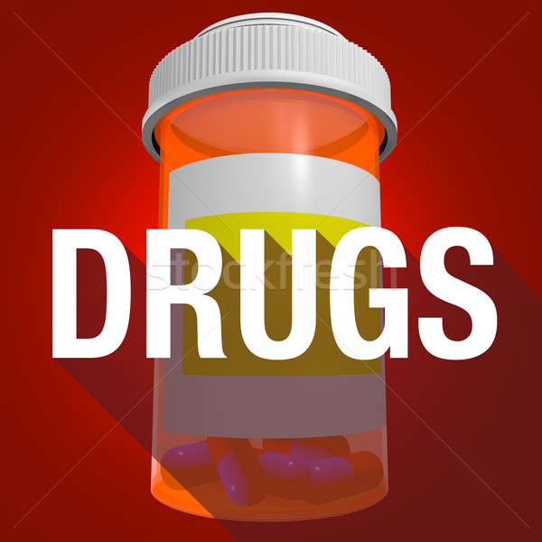 Drugs Medicine Bottle Word Long Shadow Health Care Stock photo © iqoncept